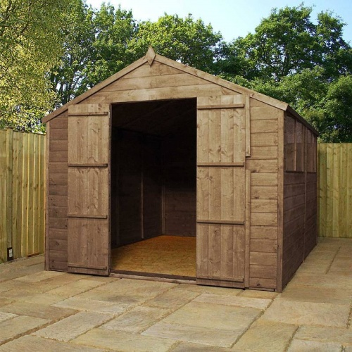 10 x 8 Shiplap Pressure Treated Apex Wooden Garden Shed Double Door